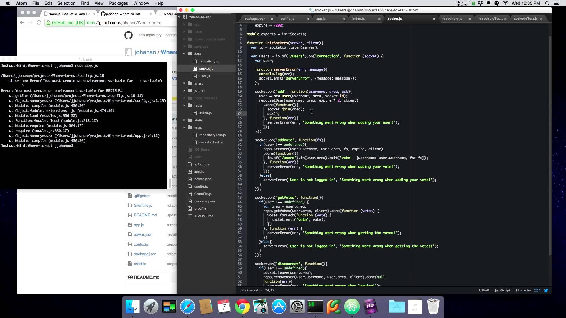 Node.js, Socket.io, and Redis: Intermediate Tutorial – Server side (Screencast)